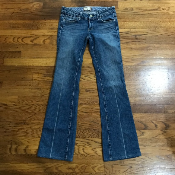PAIGE Denim - PAIGE Low Rise Flare Line Distressed Jeans